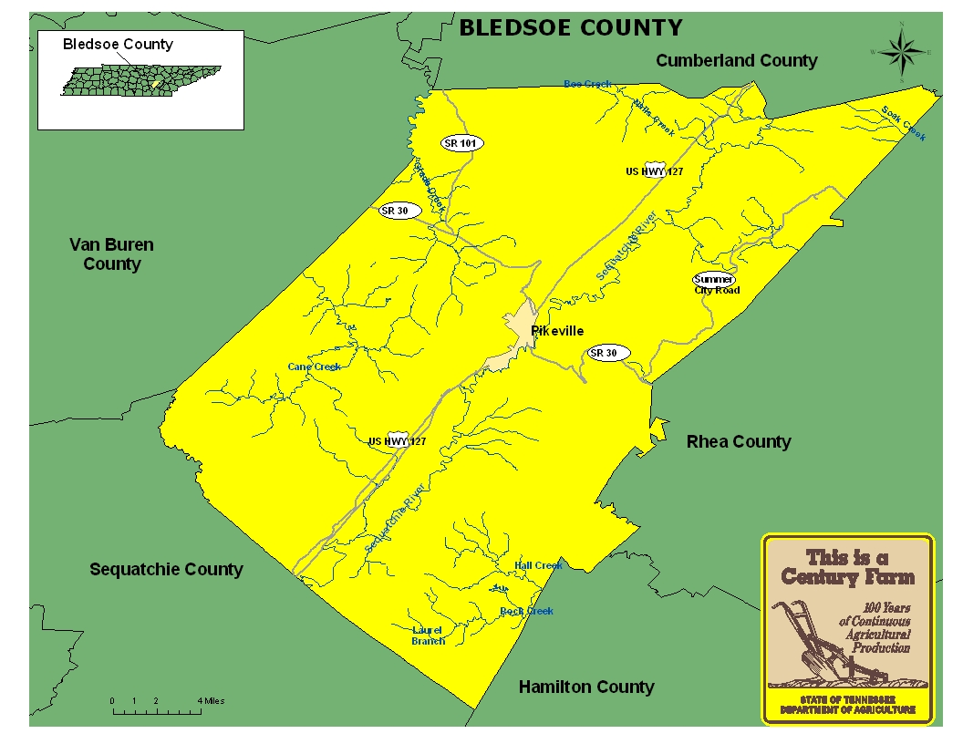 Bledsoe County Map