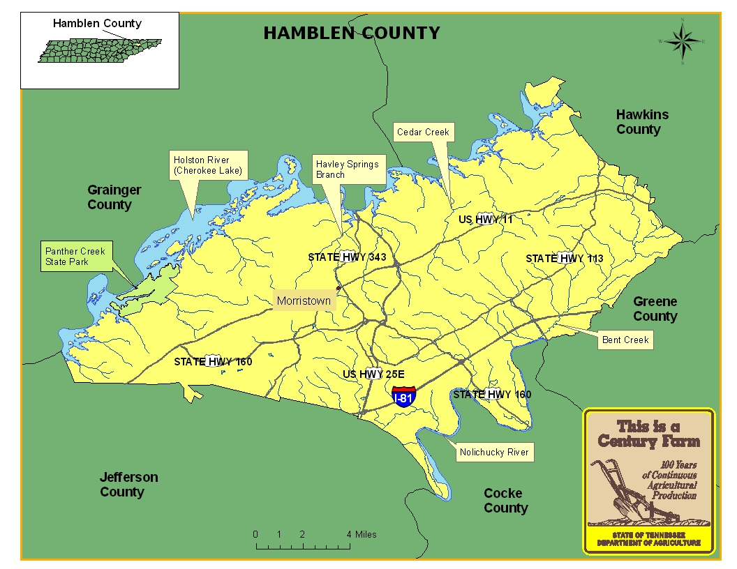 Hamblen County Map