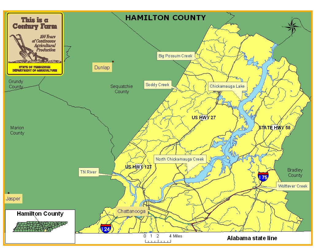Tn State Map With Counties.Hamilton County Tennessee Century Farms