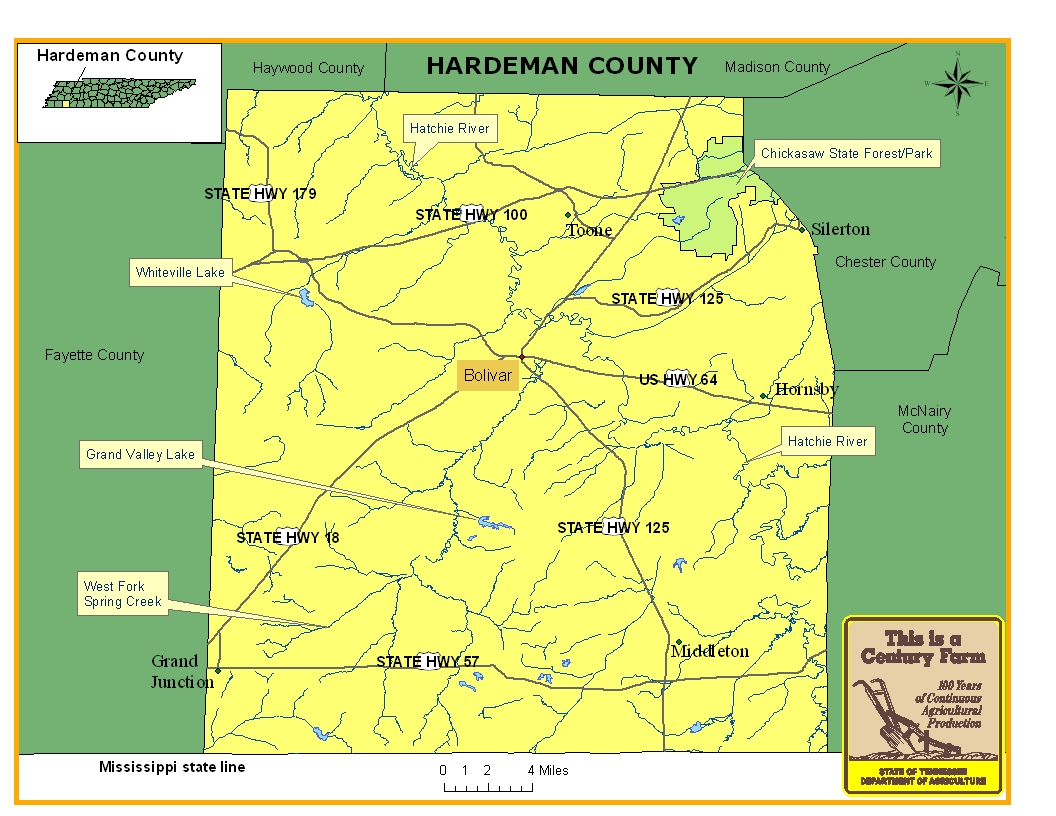 Hardeman County Map