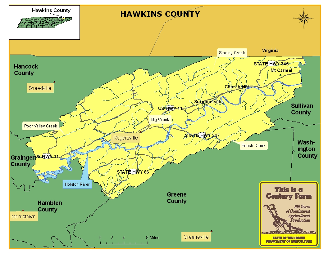 Hawkins County Map
