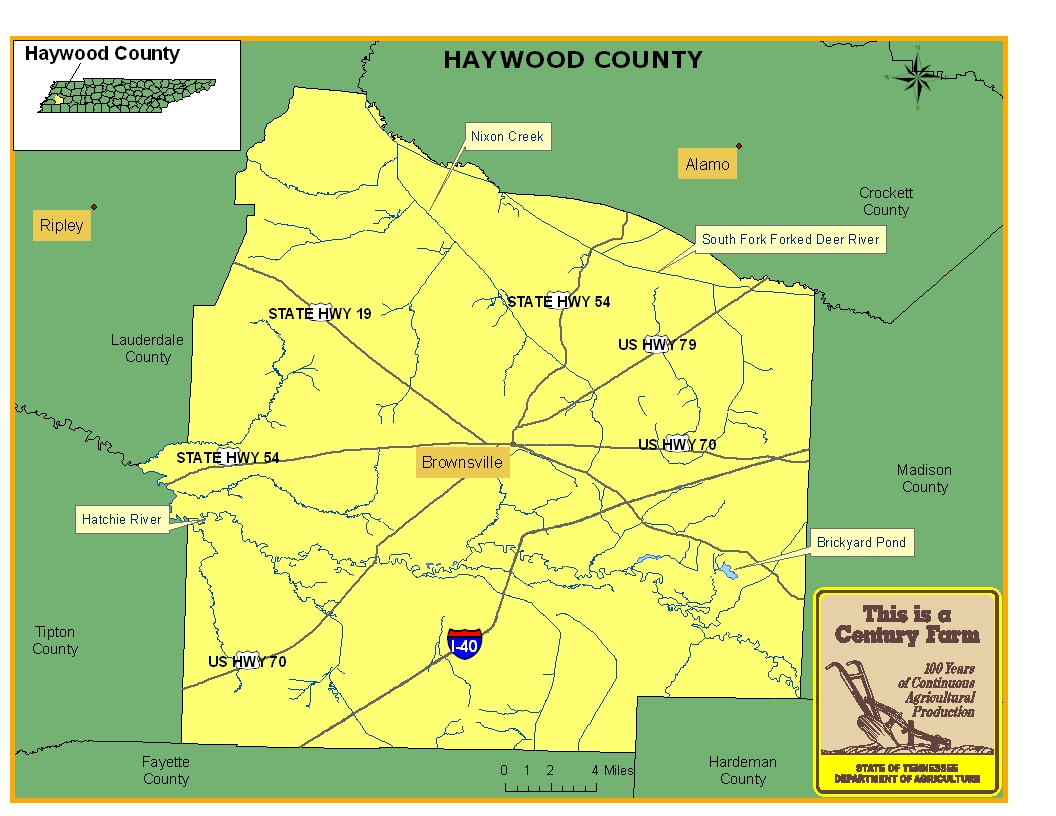 Haywood County Map