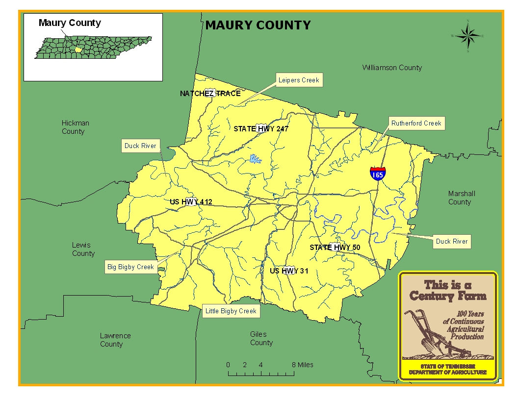 Tn State Map With Counties.Maury County Tennessee Century Farms