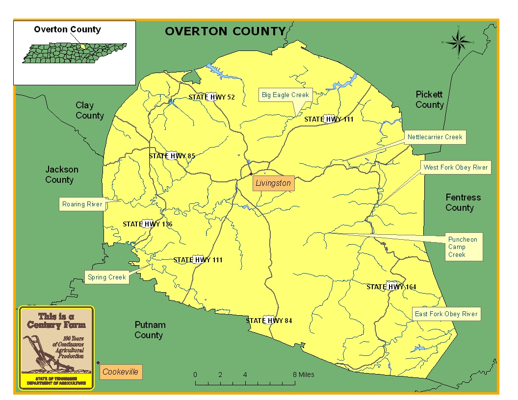 Overton County Map