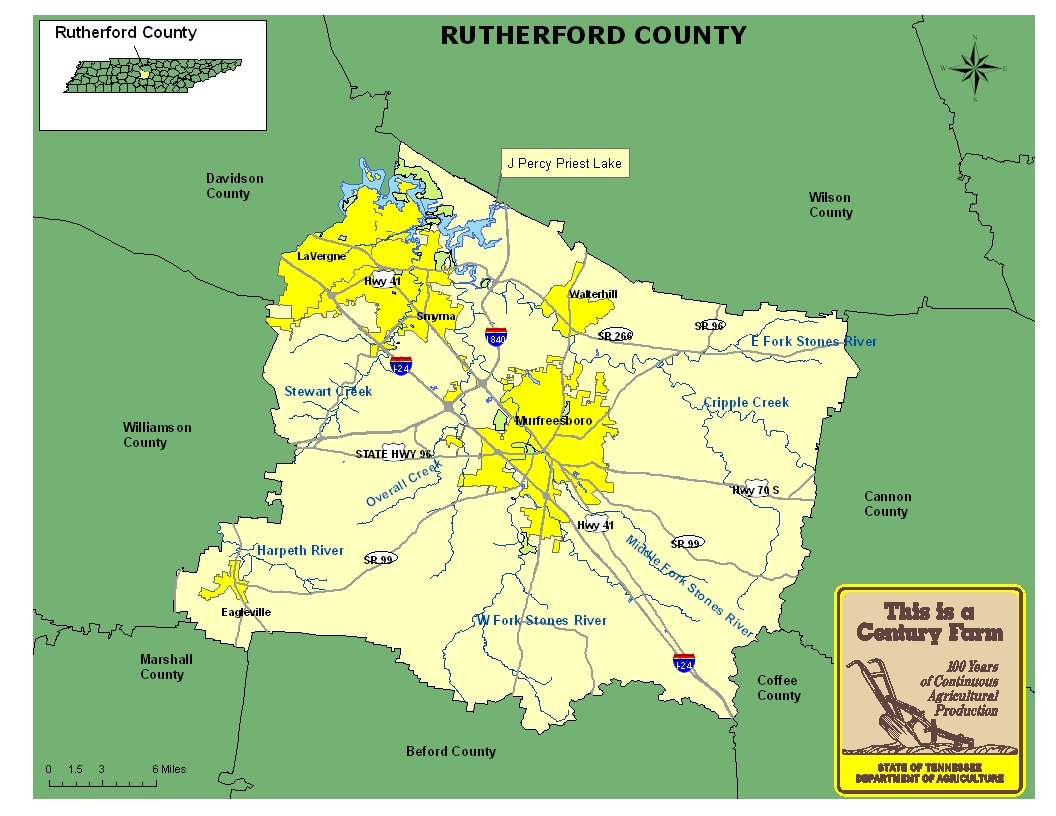 Rutherford County Map