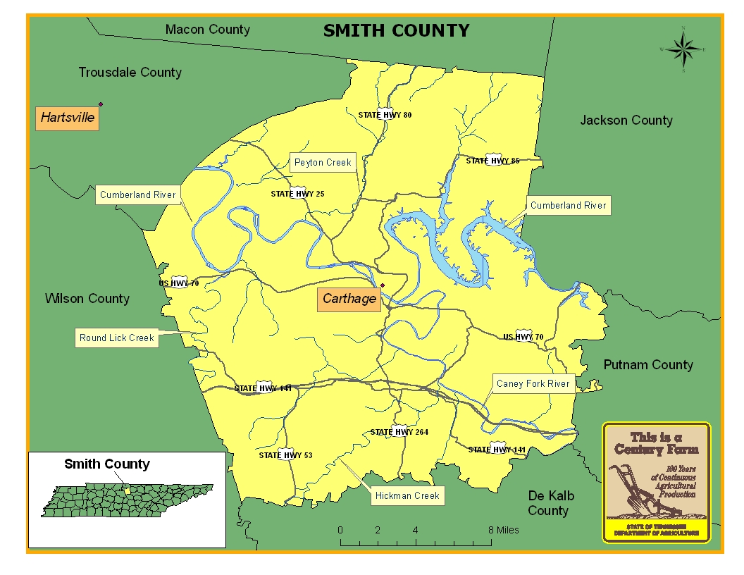 Smith County | Tennessee Century Farms on leflore county map site, tyler map site, white county map site,