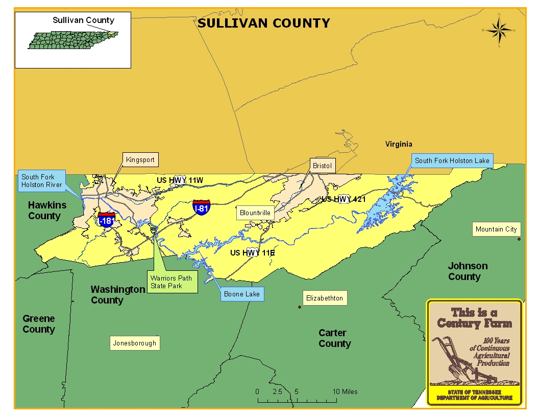 Sullivan County Tennessee Century Farms - Tn map with counties and cities