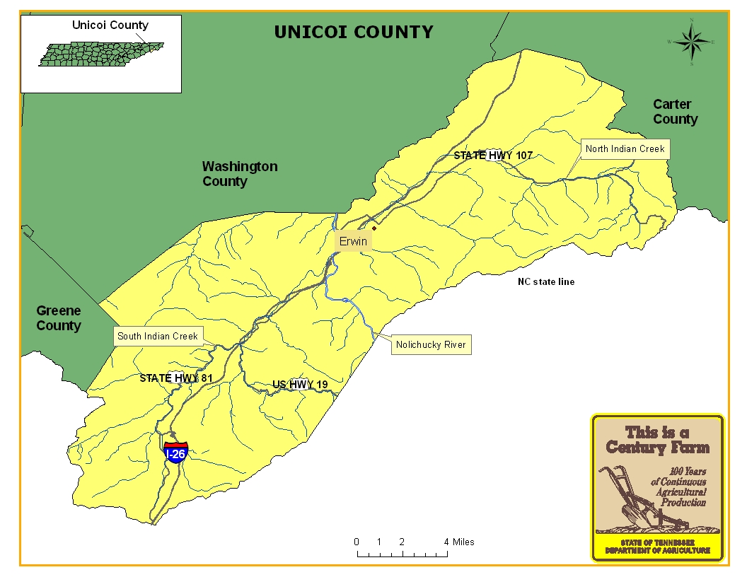 Unicoi County Map