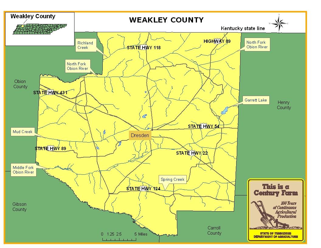 Weakley County Map